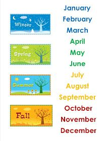 The Idea Cubby: The Calendar Months – School Calendar İdeas. Learning English For Kids, English Lessons For Kids, Kids English, Teaching English, Learn English, Teaching Weather, Preschool Weather, Kids Calendar, School Calendar