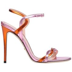 Preowned Gucci New & Sold Out Pink Orange Metallic Strappy Evening... ($1,525) ❤ liked on Polyvore featuring shoes, sandals, pink, strap sandals, strappy sandals, pink high heel sandals, orange high heel sandals and metallic sandals