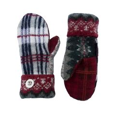 Plaid Sweater Mittens  Wool Mittens for Women Navy by SweatyMitts