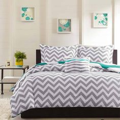 duvet bedding grey chevron stripe