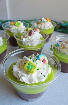 A fun and festive St. Patrick's Day treat, your little ones will love these mini brownie trifles.