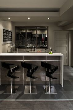 Modern kitchen design with integrated bar counter for a small condo ...