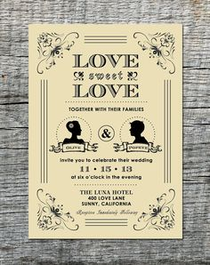 Vintage Wedding Invitation with Silhouette by differentdesigns10, $30.00
