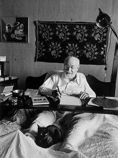 Henri Matisse et son chat.