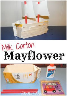 Milk Carton Mayflower: a hands-on craft for kids to make while learning all about the first Thanksgiving with the pilgrims | Stir the Wonder
