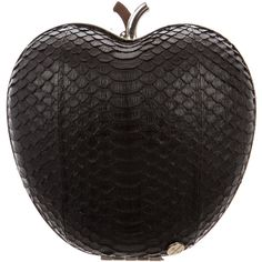 Pre-owned Elisabeth Weinstock Snakeskin New York Apple Clutch ($225) ❤ liked on Polyvore featuring bags, handbags, clutches, black, hand bags, locking purse, pre owned purses, snake skin handbags and handbag purse