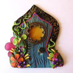Boho Fairy Door Pixie Portal Blue Miniature Door by Claybykim