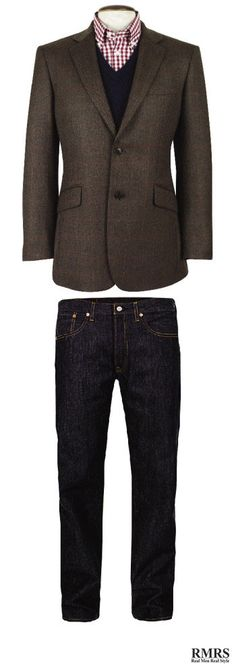 How To Wear A Sports Jacket With Jeans – Matching Denim And A Sport Coat (via Covelo Covelo Covelo Centeno) Sports Jacket With Jeans, Denim Jacket Men, Men's Denim, Denim Style, Mens Fashion Blazer, Fashion Coat, Men's Fashion, Mens Sport Coat, Sport Coats