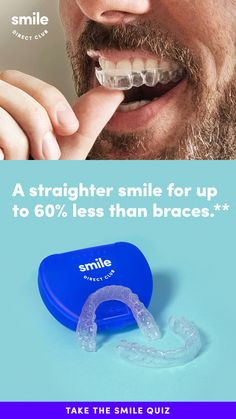 Get the confidence of a smile you'll love for $130/mo.* Take the free 30-second smile quiz to see how you can get a straighter smile in 6 months on average and for up to 60% less than braces** with clear aligners from SmileDirectClub.