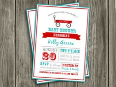 Printable Red Wagon Baby Shower Invitation | Radio Flyer Invite | FREE thank you card included | Party Package Decorations Available | www.dazzleexpressions.com