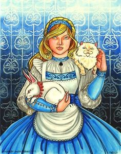 Alice in Wonderland with White Rabbit and Cheshire Cat by redrevvy Alice In Wonderland 1951, Adventures In Wonderland, Princesa Alice, Cheshire Cat Art, Childhood Stories, Wonder Art, Love Art, Painting & Drawing, Amazing Art