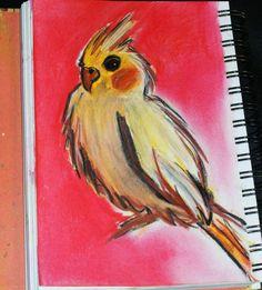 Chalk pastel cockatiel drawing #art