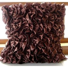 """Vinage Style Ruffles Brown Satin Throw Pillow Covers 16""""X16"""" - Vintage Browns"""