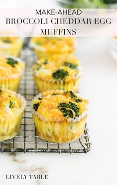 Easy Make-Ahead Broccoli Cheddar Egg Muffins are full of veggies and protein for a healthy breakfast on busy mornings. This recipe is perfect for weekend meal prep! #glutenfree #vegetarian #easybreakfast #makeahead #simplerecipes #onthego #broccolicheddarrecipes #easyrecipes #quickrecipes