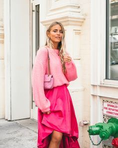 Pink look with sweater