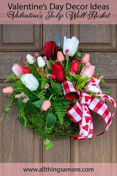 Who doesn't love tulips? This tulip wall basket wi Valentine Day Wreaths, Valentines Day Decorations, Christmas Wreaths, Spring Wreaths, Wall Basket, Baskets On Wall, Tulip Wreath, Floral Wreath, Wreaths For Front Door