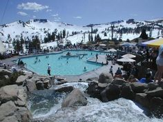 How cool is this? Grab a drink from the bar and relax in the sun, or take a dip in the pool and hot tub overlooking the mountains and lake at Squaw Valley High Camp Pools. >> http://www.frontdoor.com/photos/the-softer-side-of-lake-tahoe?soc=pindhm