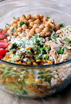 This healthy chicken chickpea chopped salad looks so delicious. Can't wait to try it! | ambitious kitchen