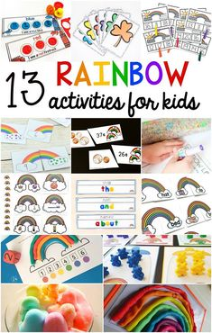 13 FREE rainbow activities for kids.  Perfect for preschool, kindergarten, and first grade.  Learn the colors of the rainbow with these fun, hands on activities. Rainbow themed math, literacy, and science activities.