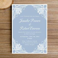 Dusty Blue Lace Fl Winter Wedding Invitations Ewi383