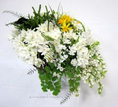 paperwhites, tete tete daffodils, lilacs, allium, lycopodium, sea star fern, maidenhair, air plants, galex and flexi grass