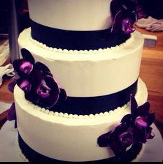 www.mazzettisbakery.com Mazzetti's Bakery. Wedding cakes. Delicious. Pacifica, CA.   Purple. Ribbon. Fresh flowers.