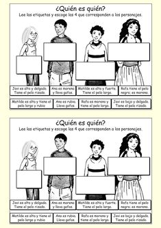 Match the description with the person - Spanish vocabulary.