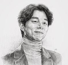 Goong Yoo Gong Yoo, Portrait Sketches, Art Sketches, Goblin Korean Drama, Dramas, Korean Tv Series, Charcoal Art, Book Drawing, Cool Art Drawings