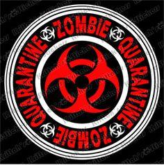 "Zombie Quarantine 2 Color Vinyl Decal 6x6"" Car Wall Sticker T Virus Undead K297 | eBay"