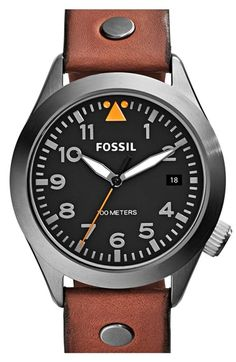 Fossil 'Aeroflite' Leather Strap Watch, 44mm available at #Nordstrom