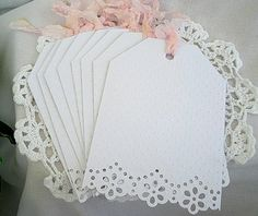Vintage Inspired Doily Lace Note Cards, Birthday, Friendship, Tea, Shabby Chic, Wedding, Handmade  Embossed 12 Card Set
