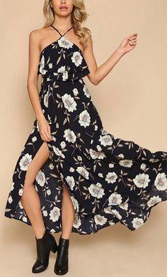 Vestido Longo Floral com Recortes - Compre Online   DMS Boutique