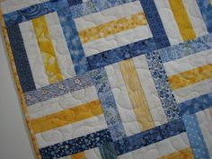 Quilted Table Topper , Rustic Country Kitchen Table Mat , Blue and Yellow Scrappy Table Topper , Quiltsy Handmade by VillageQuilts on Etsy