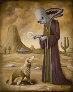 """mini-space-alien: """" markrogersart: """" """"New Friend"""" oil on panel This is my entry for the annual """"Canine"""" art auction to benefit family dogs new life at Pony Club gallery. Aliens And Ufos, Ancient Aliens, Alien Gris, Art Alien, Rick Genest, Art Tribal, Cindy Sherman, Art Populaire, Diane Arbus"""