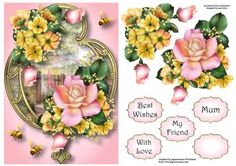 Pink Yellow Summer On Golden Frame A5 on Craftsuprint designed by Anne Lever - This lovely A5 topper features gorgeous pink and yellow flowers on a fancy golden frame. It has decoupage, four greetings and a blank greetings tile. - Now available for download!