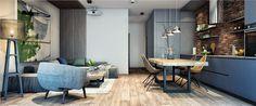 Modern lakberendezési ötlet kis alapterületű lakáshoz