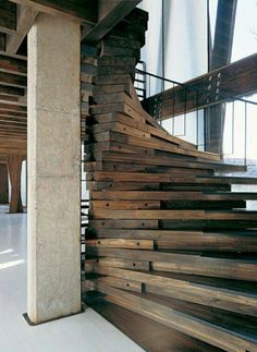 Reclaimed wood stairs - oh yeah, I could totally build these...