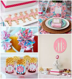 Monograms and Lilly {Pulitzer} Themed Preppy Birthday Brunch with Such Cute Ideas via Kara's Party Ideas KarasPartyIdeas.com #preppybirthdaybrunch #flo...