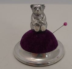 Antique Figural Sterling Silver Pin Cushion - Teddy Bear