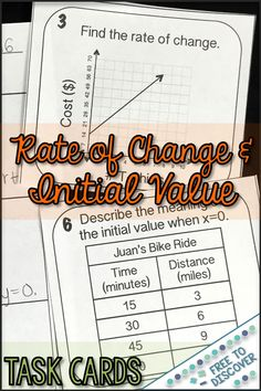 Rate of Change and Initial Value Activity - Task Cards Math Teacher, Math Classroom, Teaching Math, Teaching Ideas, Algebra Activities, Math Resources, Line Math, 8th Grade Math, Middle School