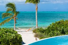 A photograph of the hammock at Turtle Beach Villa, Providenciales (Provo), Turks and Caicos Islands.