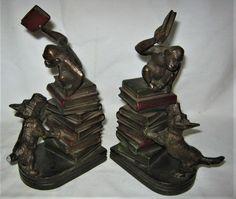 """""""RARE!!"""" ANTIQUE USA K&O MONKEY & SCOTTY DOG ART STATUE SCULPTURE BOOK BOOKENDS #AMERICANABOOKENDS #KOKRONHEIMOLDENBUSCH"""