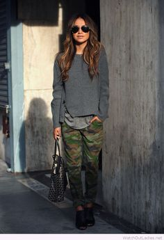 Camo pants and grey blouses