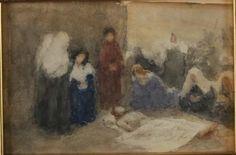Domenico Morelli - 1911 Deposizione di Cristo acquarello su cartoncino