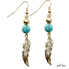 """#8 These are SO pretty and different! The TICKLE earrings have a turquoise sphere with a gold feather on these drop earrings.  2/12""""  https://youtu.be/r_WmOEjhArs https://parklanejewelry.com/rep/teresamorgan RETAIL $41 SIZZLIN' SUMMER SALE $14"""