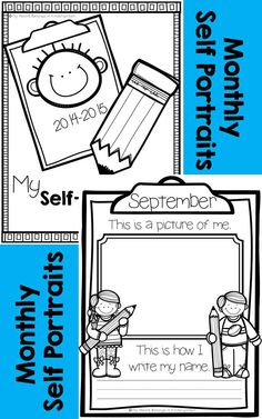 Month-by-month self portraits and handwriting samples are a great way to monitor student growth. Plus, they are perfect to share at parent-teacher conferences or to include in memory books! Simply have your students draw a picture of themselves and write their name each month throughout the school year. Choose a cover to add to your year-long collection and create a keepsake parents will love.
