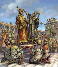 Georgios Maniakes, generał armii bizantyjskiej, prawdopodobnie pochodzenia mongolskiego. Wsławił się w 1031 odbiciem Edessy z rąk arabskich. W 1043 roku został katepanem południowej Italii. Tu: akt jego koronacji