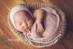 Love this little hat! Elizabeth Knit Bonnet    Newborn Photo Prop  baby by zoeandoliver, $33.00