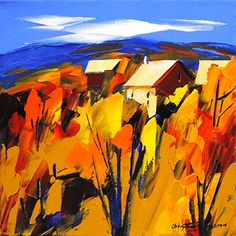 """""""Feux De L'Automne"""" 12"""" x 12"""" Acrylic on Canvas by Christian Bergeron. From Crescent Hill Gallery in Mississauga, ON"""