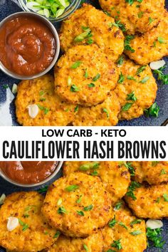 Crispy outside and tender inside, these golden cauliflower hash browns are a low carb, healthy, and every bit as satisfying as the original! A keto, low carb recipe that's easy and cheesy! #keto #lowcarb